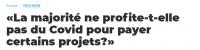 «La majorité ne profite-t-elle pas du Covid pour payer certains projets?» par Fabian Martin, Conseiller communal